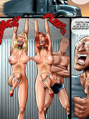 Enslaved toon chicks get their twats dildoed deep and suffering severe pain from electricity.